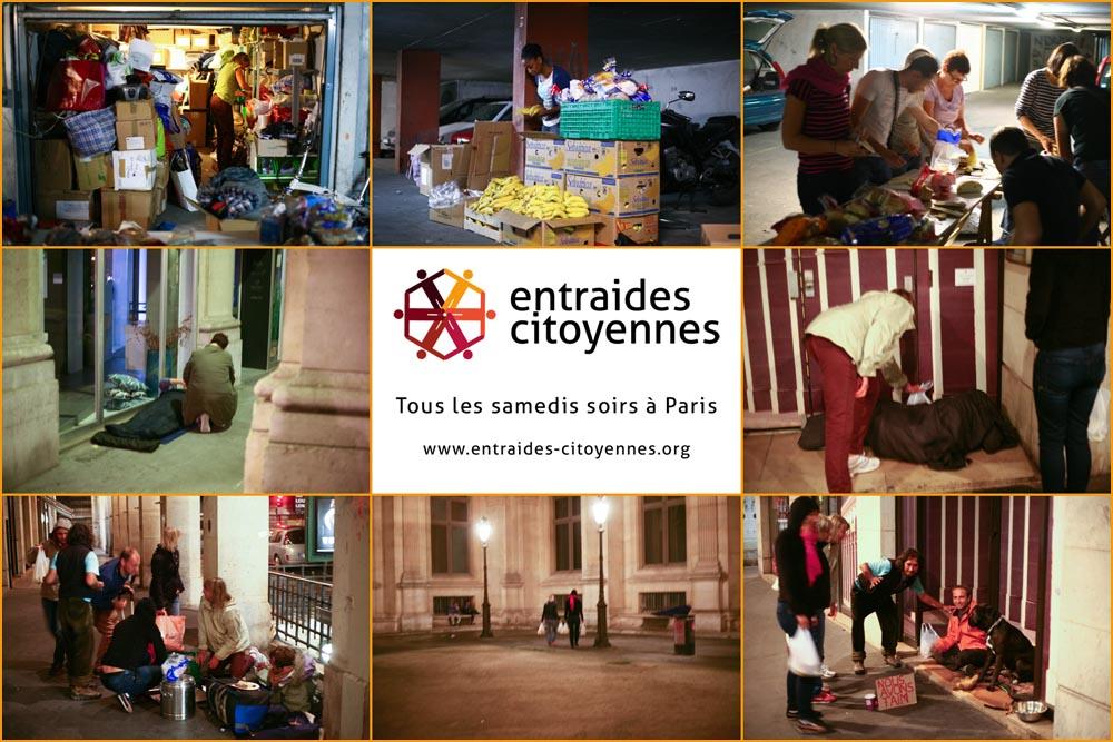 entraides-citoyennes aide sans-abris tous les samedis soirs à paris