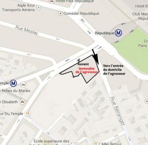 Plan du quartier ou vit l'agresseur et où survivent les roms