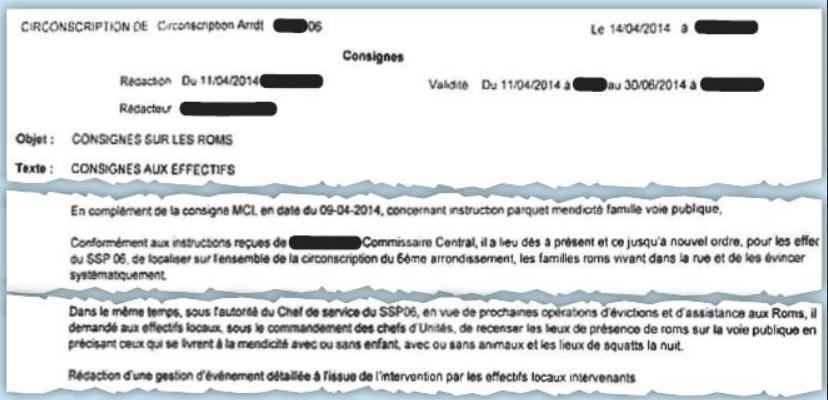 Note police 6e ardt Paris relative à l'éviction des roms