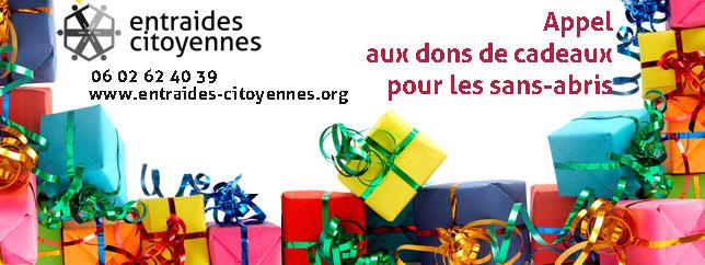 appel aux dons de cadeaux pour les sans-abris entraides-Citoyennes