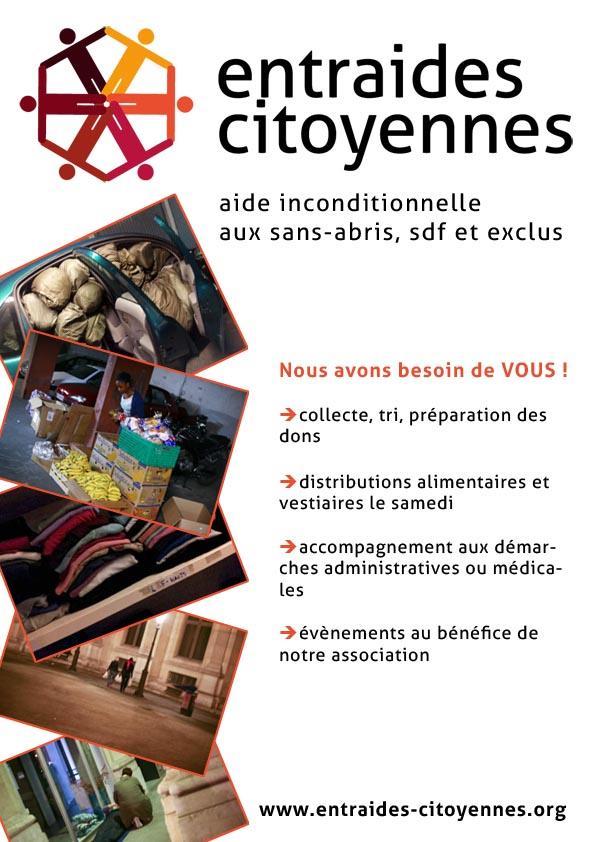 Appel aux bénévoles aide aux sans-abris sdf exclus Paris Entraides-Citoyennes