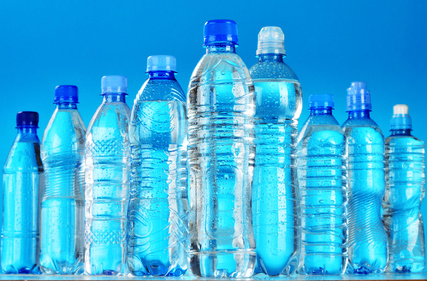 Composition with assorted plastic bottles of mineral water