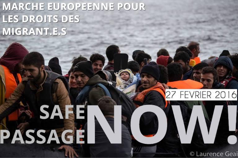 safe passage now-Marche européenne droits des réfugiés-photo Laurence Geai
