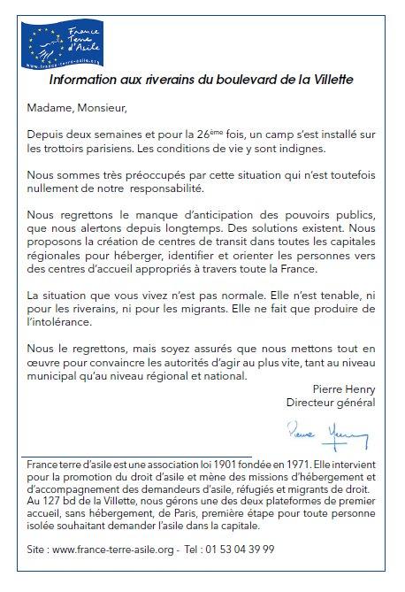 lettre France Terre d'Asile aux riverains du 10e